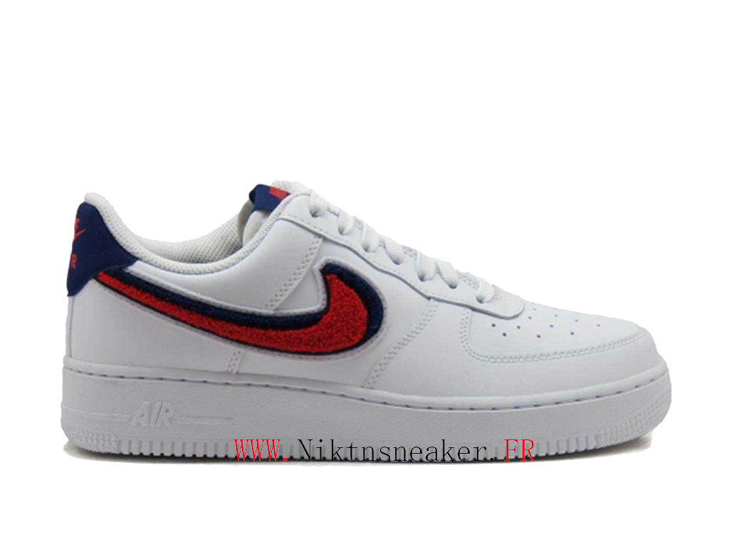 2020 Nike Air Force 1 07 Blue / White Red Men ́s Nike Basketball Shoes 823511-106