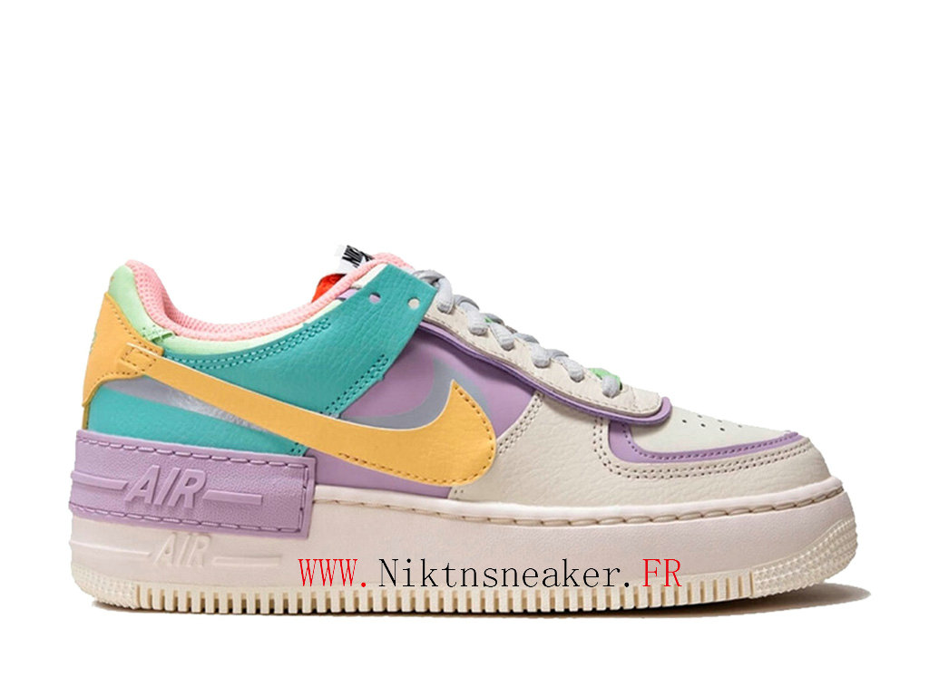 2020 Nike Air Force 1 AF Gs White / Yellow Purple Women ́s Nike Basketball Shoes CI0919-101 35-40
