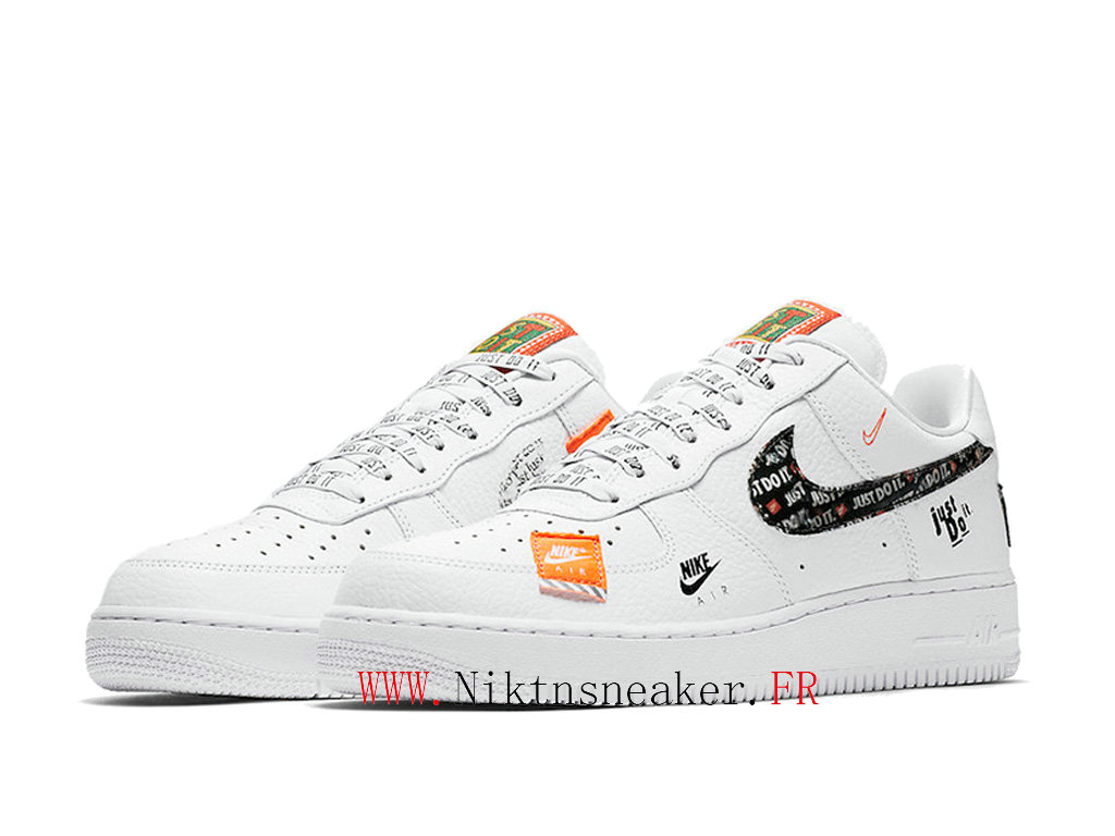 2020 Nike Air Force 1 AF1 07 Black / White Orange Men ́s Women ́s Nike Basketball Shoes AR7719-100