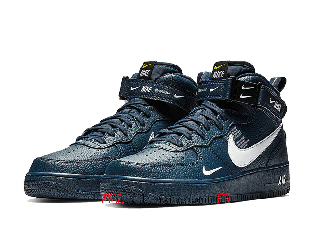2020 Nike Air Force 1 Mid Utility Blue / White Men ́s Women ́s Nike Basketball Shoes 804609-403