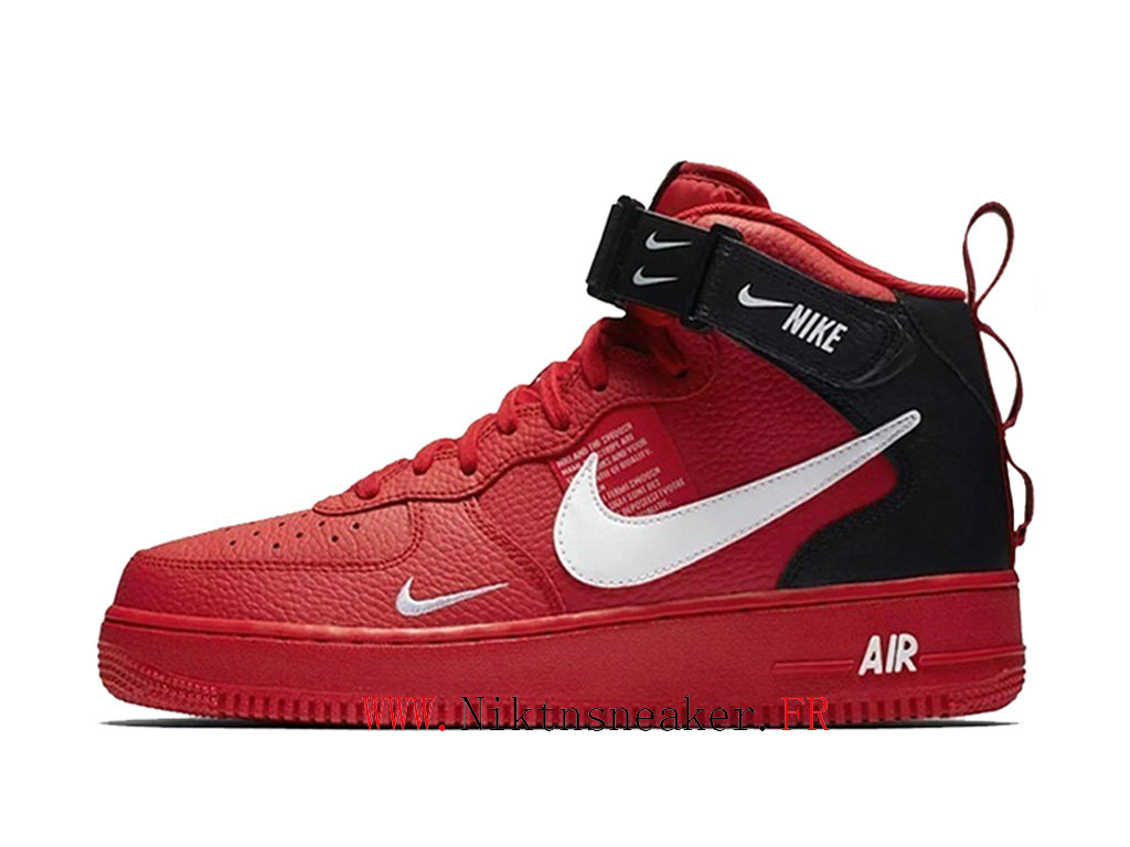 2020 Nike Air Force 1 Mid Utility Black / Red White Men ́s Women ́s Nike Basketball Shoes 804609-605