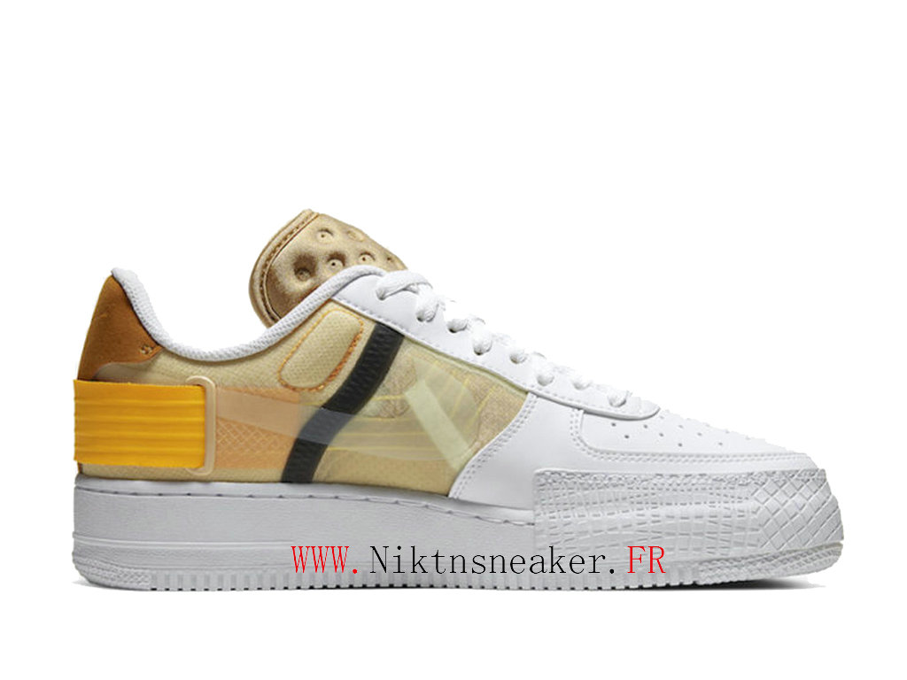 2020 Nike Air Force 1 Type Jaune / Or Blanc Chaussures De Basket Pas Cher Pour Homme Femme AT7859-100