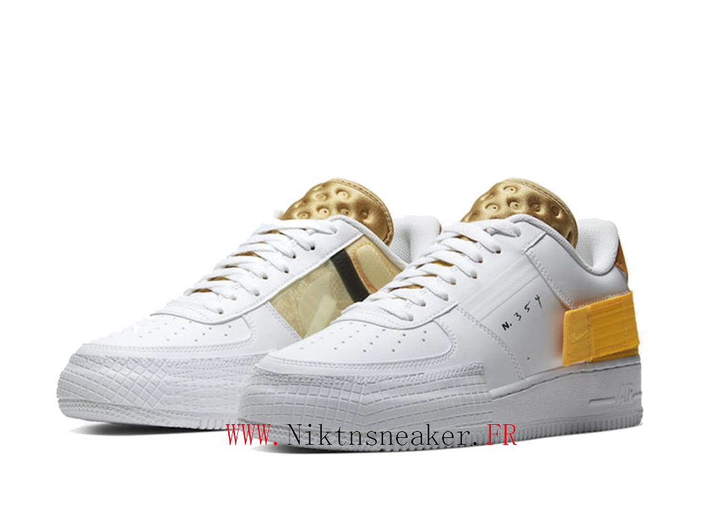 2020 Nike Air Force 1 Type Yellow / Gold White Men ́s Women ́s Nike Basketball Shoes AT7859-100