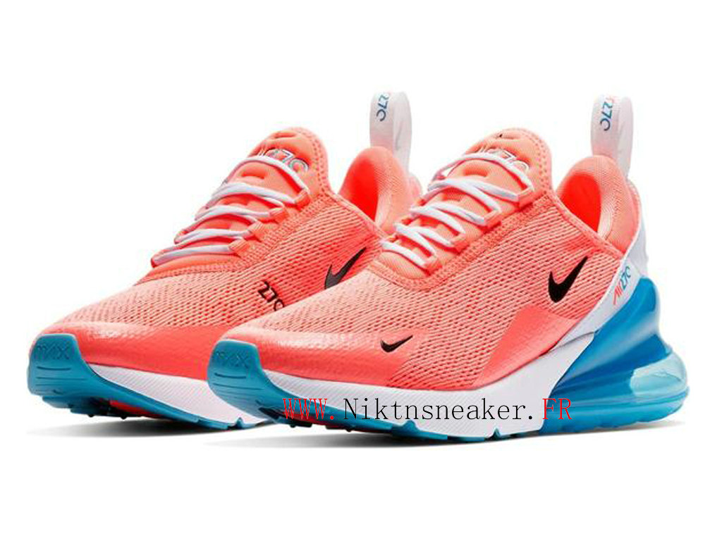 2020 Nike Air Max 270 Gs Blanc / Bleu / Orange CI5856-600 Chaussures De Course Cushion Pas Cher Femme