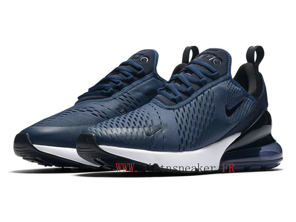 2020 Nike Air Max 270 Black / Blue / White AH8050-400 Running Shoes Cushion Cheap Men