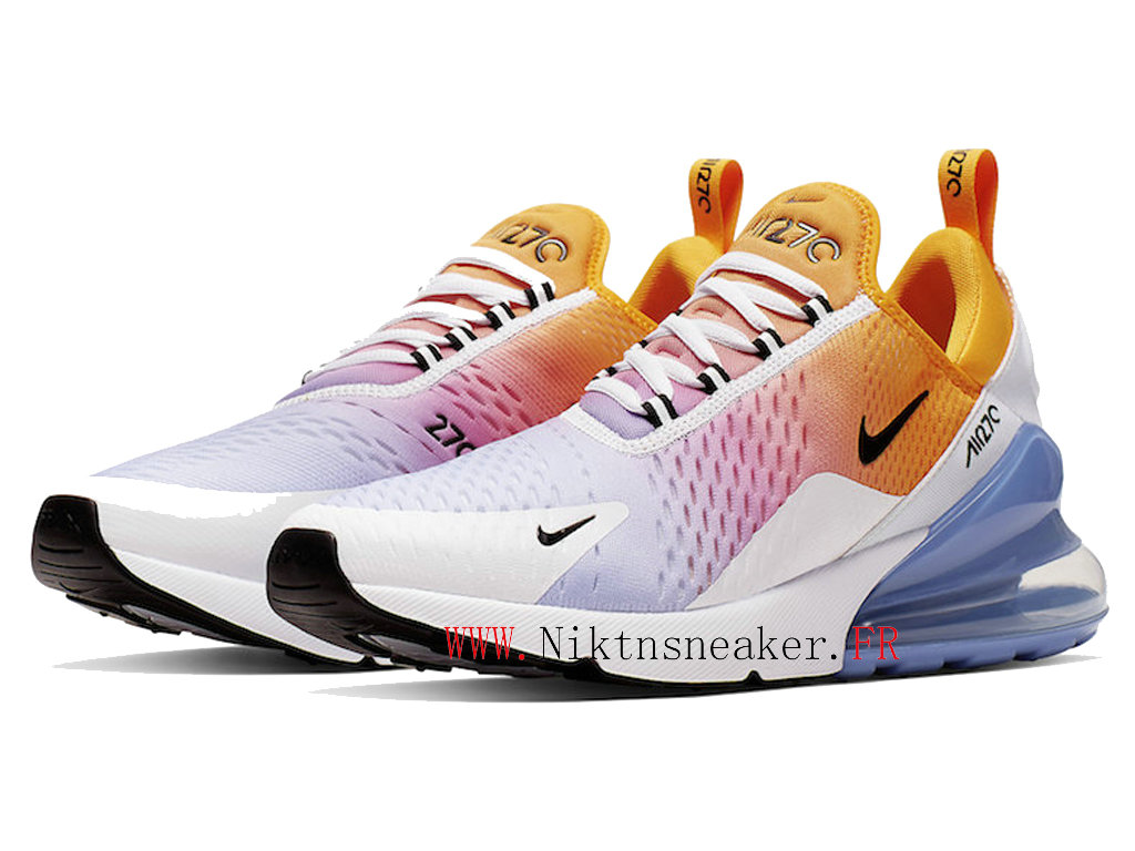 2020 Nike Air Max 270 Black / Orange / Blue White AH8050-702 Running Shoes Cushion Cheap Men ́s Women ́s