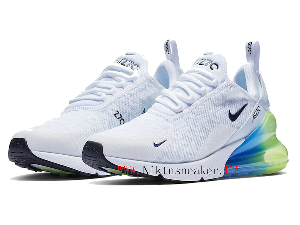 2020 Nike Air Max 270 Black / Green / White Blue AQ9164-100 Men ́s Running Shoes Cushion Cheap