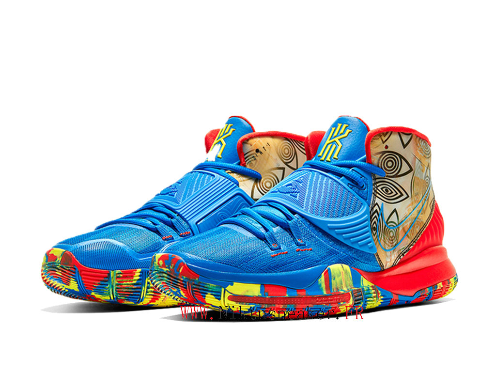 2020 Nike Kyrie 6 Preheat Collection Guangzhou Chaussures Pas Cher Homme Bleu / Rouge / Or CQ7634-409