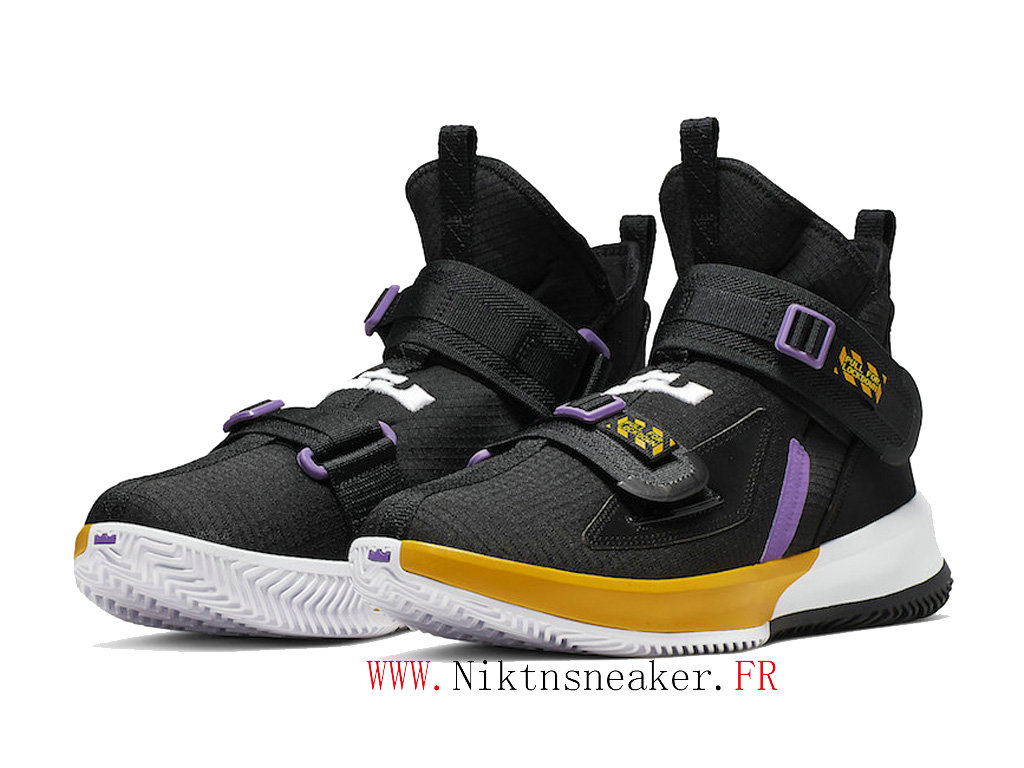 2020 Nike LeBron Soldier 13 Lakers AR4228-004 Men ́s Basketball Shoes Cheap Black / White / Yellow