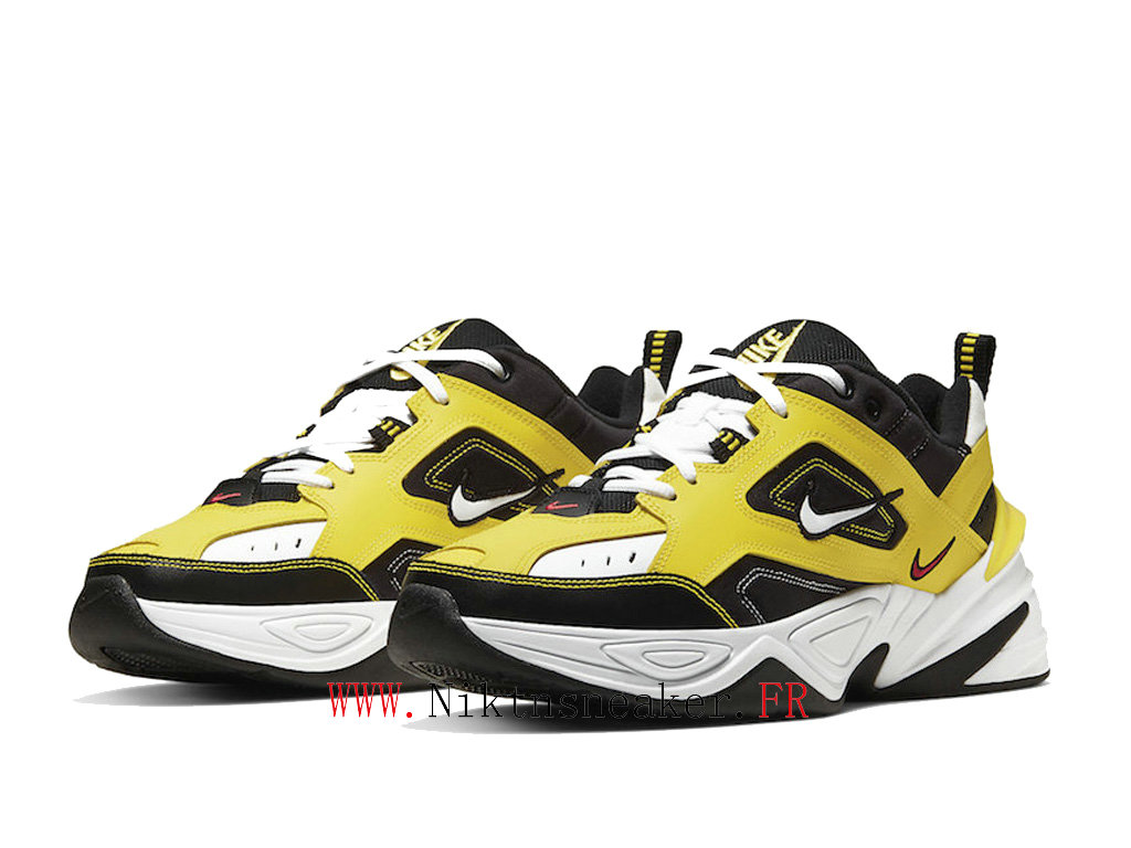 2020 Nike M2K Tekno Black / White / Yellow AV4789-700 Sport Men ́s Women ́s Cheap Running Shoes