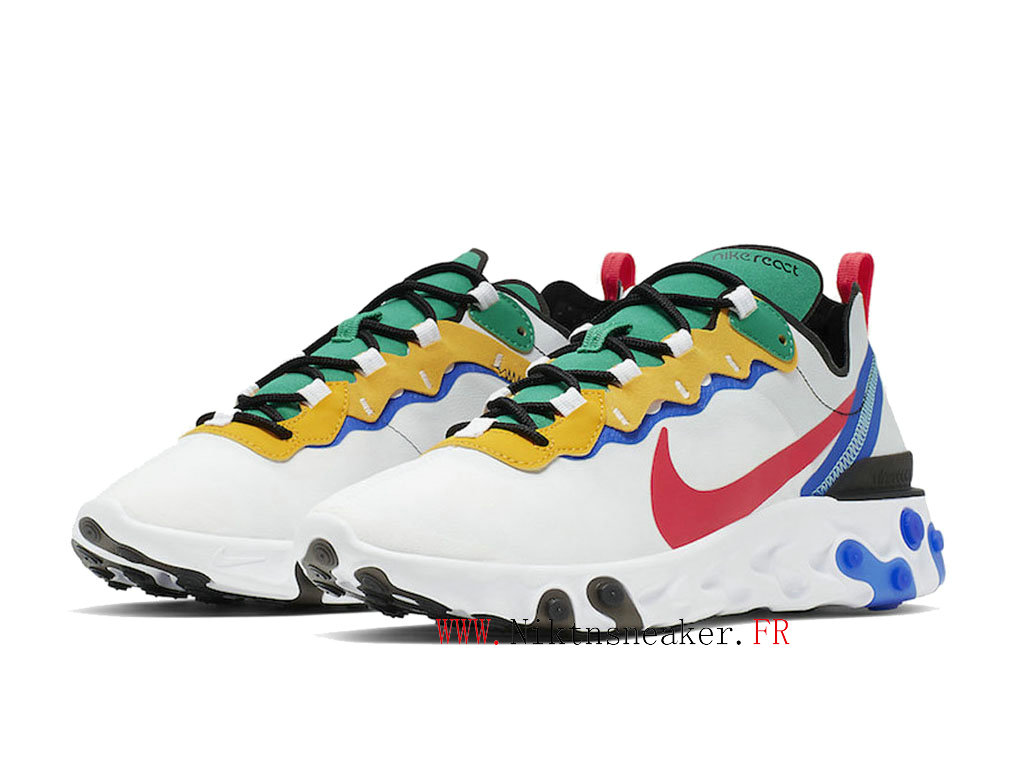2020 Nike React Element 55 White / Blue / Red CK2955-161 Men´s Women ́s Retro Running Shoes Low