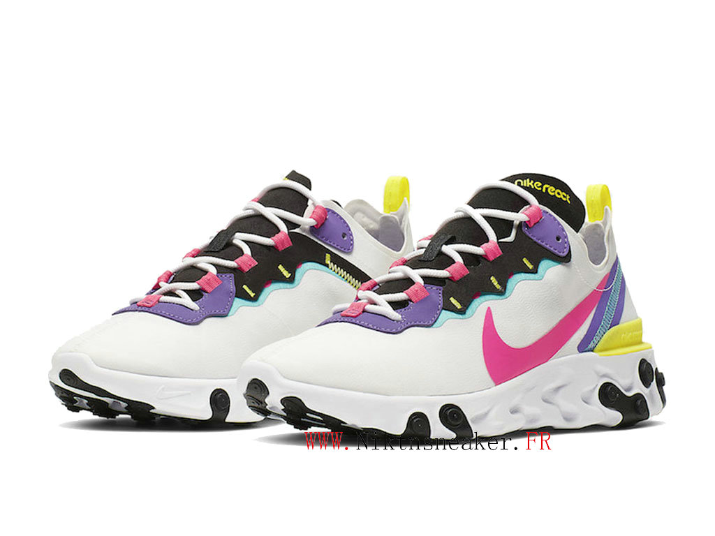 2020 Nike React Element 55 White / Purple / Pink CK0846-100 Men ́s Women ́s Retro Running Shoes Retro