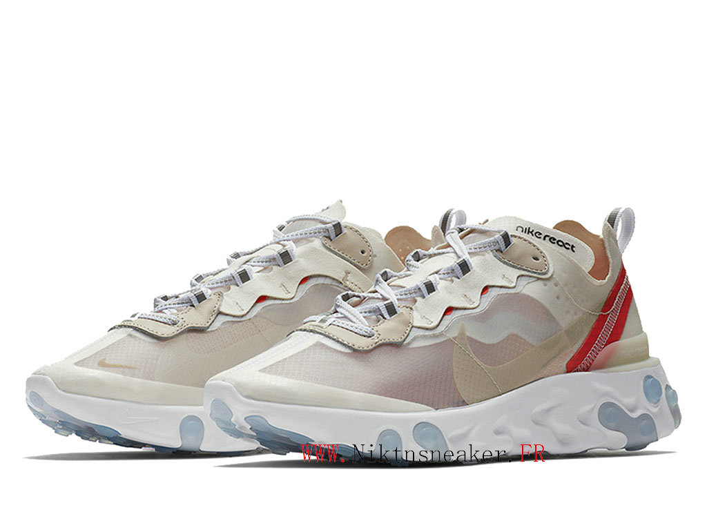 2020 Nike React Element 87 White / Beige / Red AQ1090-100 Men ́s Women ́s Retro Running Shoes Retro