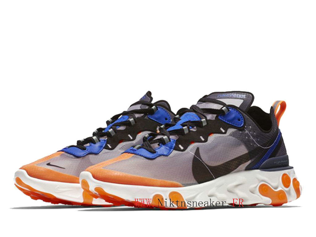 2020 Nike React Element 87 White / Blue / Orange AQ1090-004 Men ́s Women ́s Retro Running Shoes Retro