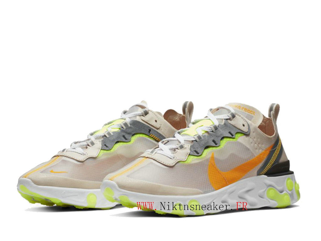 2020 Nike React Element 87 White / Orange / Yellow AQ1090-101 Men ́s Women ́s Retro Running Shoes Retro