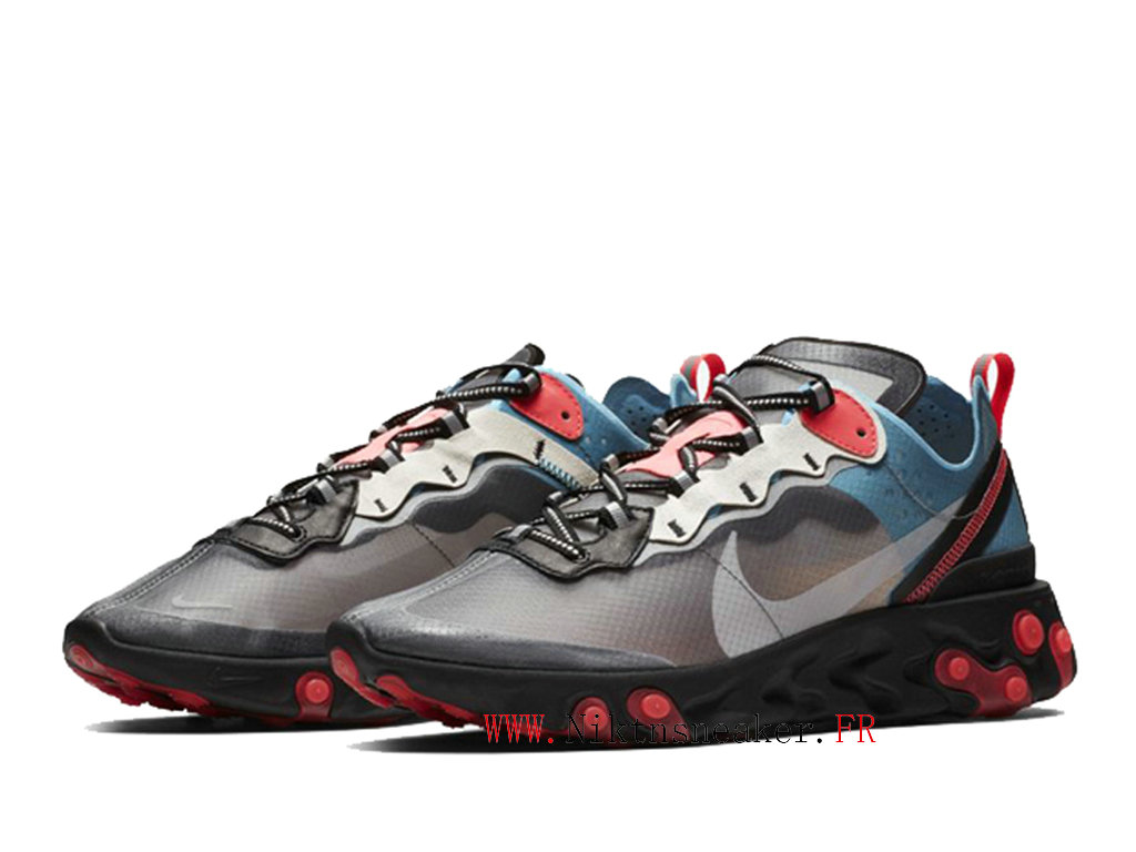 2020 Nike React Element 87 Gray / Black / Red AQ1090-006 Men ́s Women ́s Retro Running Shoes Retro