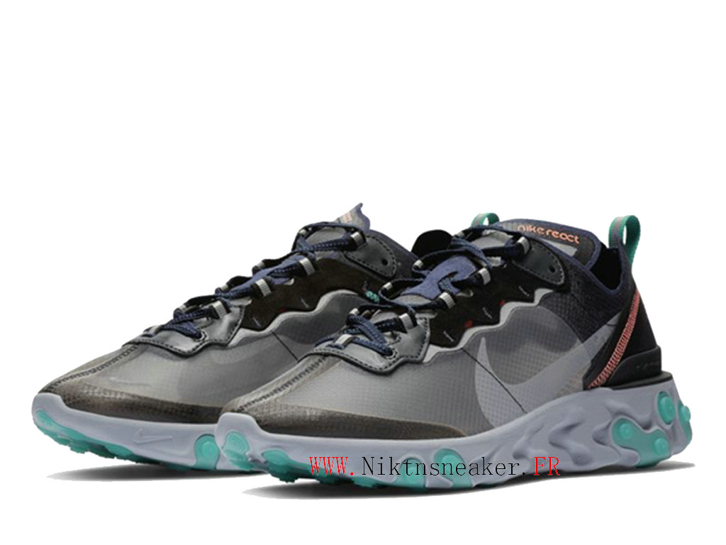 2020 Nike React Element 87 Gray / Black / Green AQ1090-005 Men ́s Women ́s Retro Running Shoes Retro