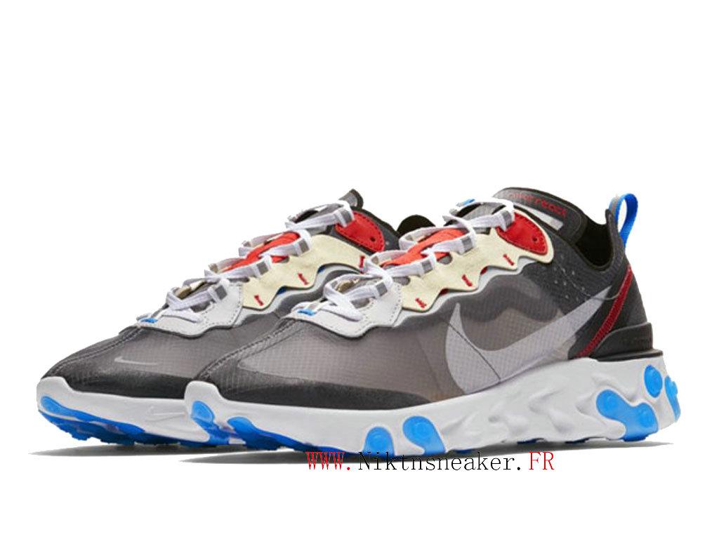 2020 Nike React Element 87 Noir / Blanc / Gris AQ1090-003 Chaussures Course  Basses Retro Homme Femme-2002160426-2020 Nouveau Chaussure De Prix Nike ...
