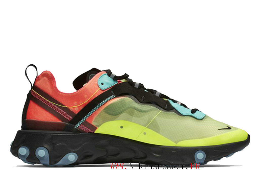 2020 Nike React Element 87 Black / Orange / Green AQ1090-700 Men ́s Women ́s Retro Running Shoes Retro