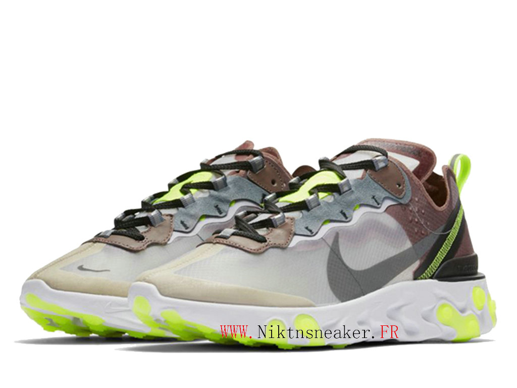 2020 Nike React Element 87 Green / Gray White AQ1090-002 Men ́s Women ́s Retro Running Shoes Retro