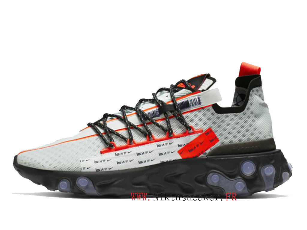 2020 Nike React LW WR ISPA Noir / Blanc / Rouge Chaussures Course Basses Retro Homme Femme CT2692-400