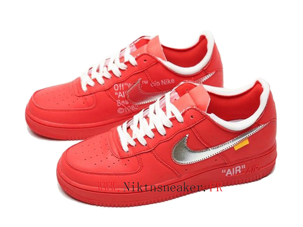 2020 Off-White x Nike Air Force 1 Red / White Silver Men ́s Women ́s Nike Basketball Shoes CI1173-600