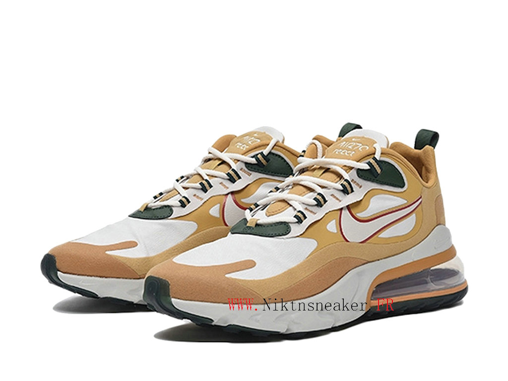 Nike Air Max 270 React Chaussures 2020 De Coussin Dair Pour Homme Blanc / Vert / Or AO4971-700