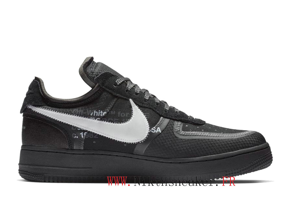 Off-White x Air Force 1 AF1 AO4606-001 Chaussures Pas Cher Pour Homme Femme Blanc / noir