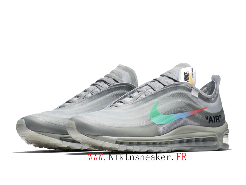 Off-White x Nike Air Max 97 AJ4585-101 Chaussures Pas Cher Pour Homme Femme Menthe grise