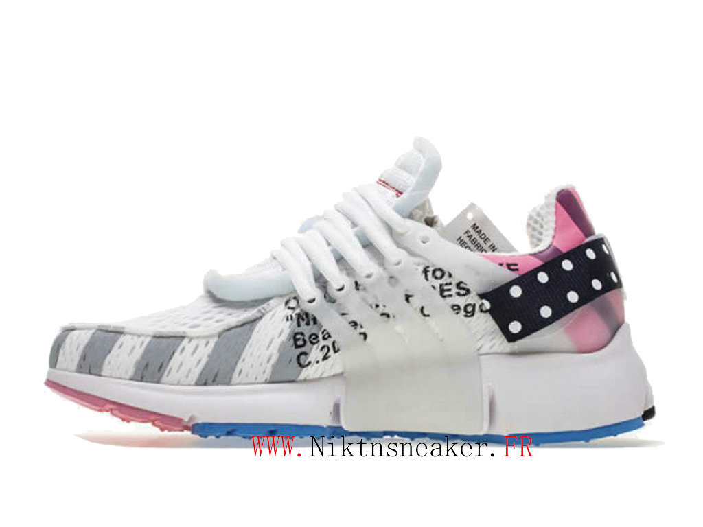 Off White x Nike Air Presto AA3830-140 Chaussures Pas Cher Pour Homme Femme Blanc / bleu / rose