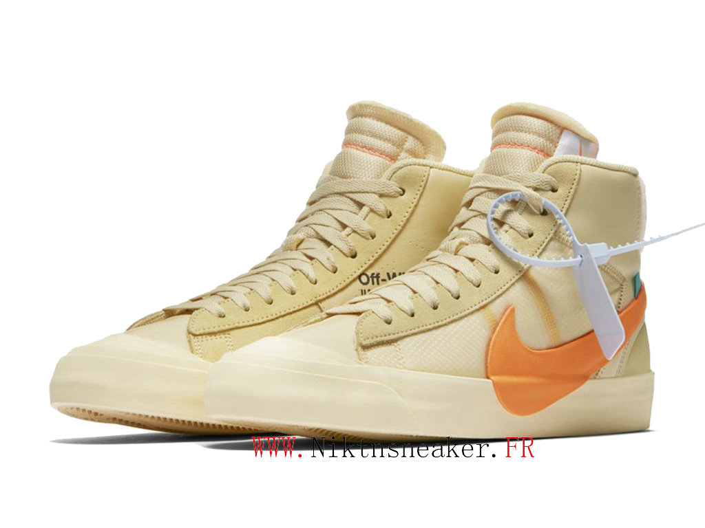 Off White x Nike Blazer Mid AA3832-700 Chaussures Pas Cher Pour Homme Femme Beige / orange