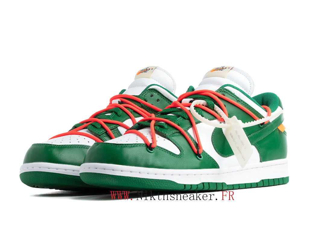 Off-White X Nike Dunk Low CT0856 100 Chaussures Pas Cher Pour Homme Femme Blanc / Vert Prairie / Orange