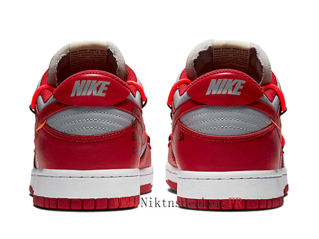Off-White X Nike Dunk Low CT0856-600 Chaussures Pas Cher Pour Homme Femme Blanc / Rouge universite