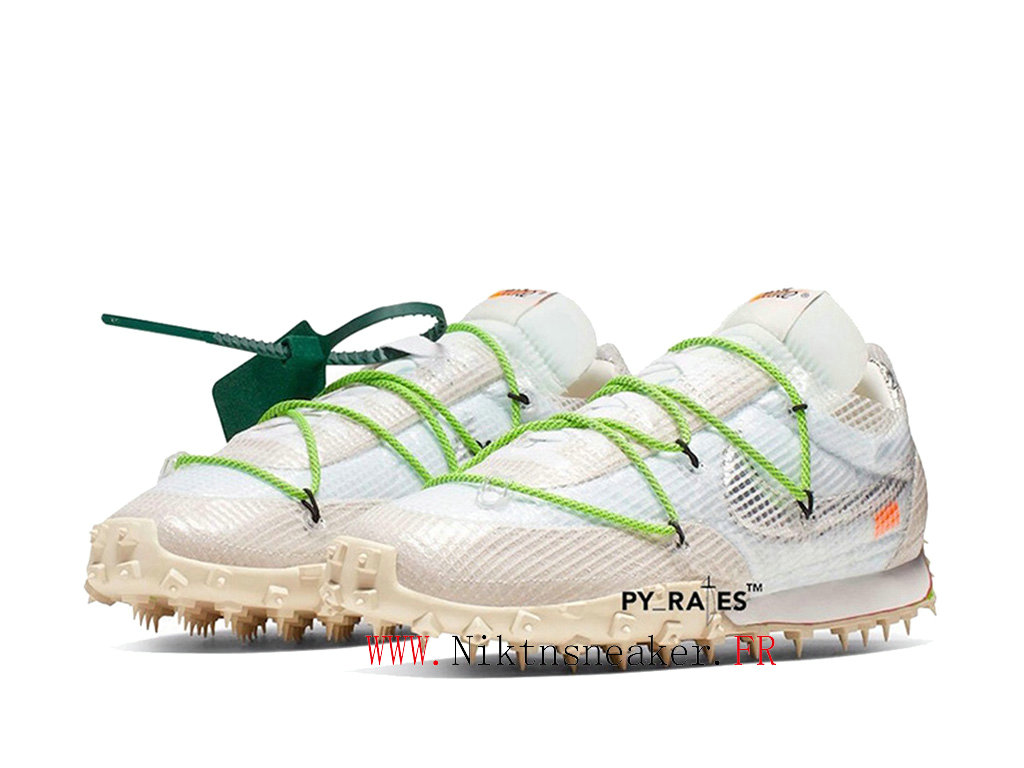 Off White X Nike Waffle Racer CD8180-100 Chaussures Pas Cher Pour Homme Femme Blanc / gris / vert