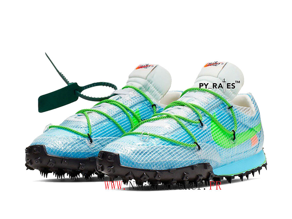 Off-White X Nike Waffle Racer CD8180-400 Chaussures Pas Cher Pour Homme Femme White / Vivid Sky blue / green