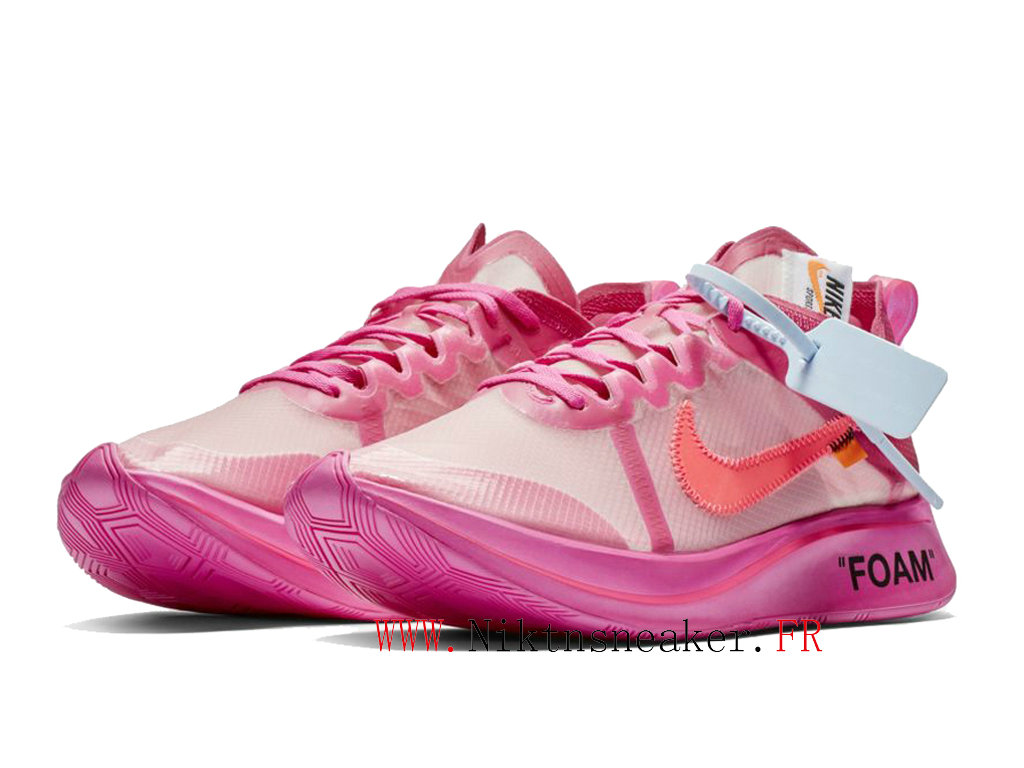 Off-White X Nike Zoomfly Sp Gs AJ4588-600 Chaussures Pas Cher Pour Femme Rose blanc / rose